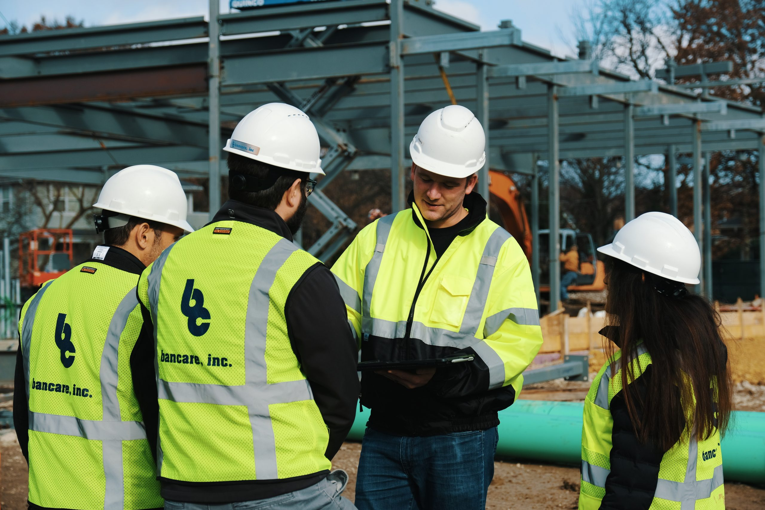 Team of Bancare construction workers on site